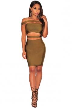 Womens Sexy Off Shoulder Cut Out Clubwear Dress Green