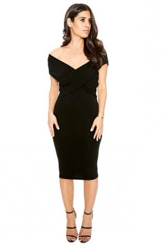 Womens Sexy Deep V Neck Plain Midi Bodycon Dress Black