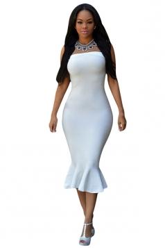 Womens Sexy Plain Off Shoulder Sleeveless Mermaid Clubwear Dress White