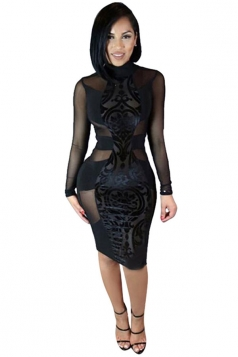 Womens Sexy Sheer Stand Neck Long Sleeve Bodycon Dress Black