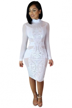 Womens Sexy Sheer Stand Neck Long Sleeve Bodycon Dress White