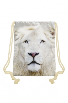 Womens Chic Lion Printed Drawstring Backpack Beige White