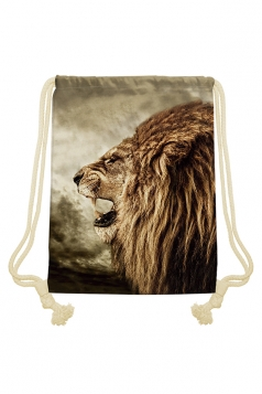 Womens Chic Lion Printed Drawstring Backpack Khaki