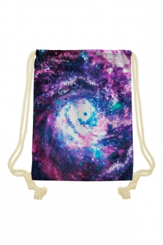 Womens Chic Galaxy Printed Drawstring Backpack Purple