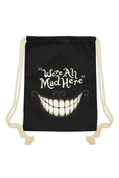 Womens Chic Smile Face Printed Drawstring Backpack Black