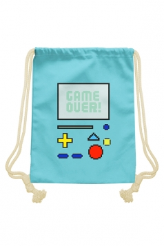 Womens Chic Game Console Printed Drawstring Backpack Turquoise
