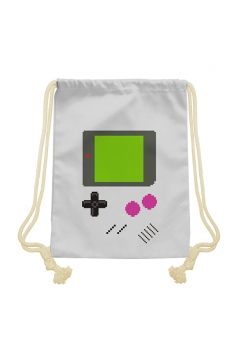Womens Chic Game Console Printed Drawstring Backpack White