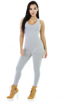 Womens Elastic Plain Sleeveless Tank Jumpsuit Light Gray