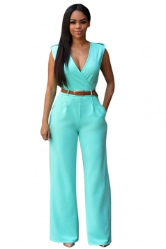 Womens Casual Plain V Neck Palazzo Jumpsuit with Belt Turquoise