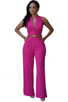 Womens Elegant Sleeveless Belted Wide Leg Jumpsuit Rose Red