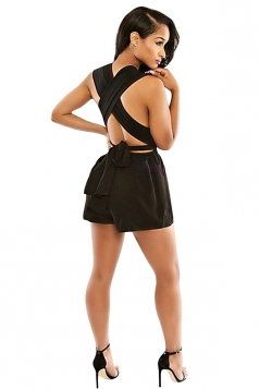 Womens Sexy Deep V Neck Sleeveless Cross Bandage Romper Black