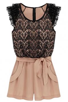 Womens Chic Lace Patchwork Short Sleeve Shorts Suit Black
