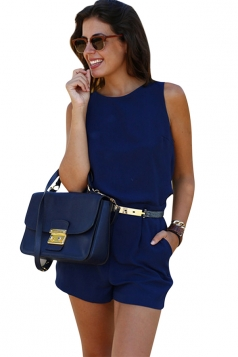 Womens Elegant Belted Sleeveless Backless Romper Navy Blue