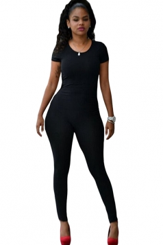 Womens Sexy Short Sleeve Backless Jumpsuit Black