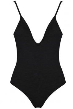 Womens Charming Deep V Neck Straps Bodysuit Black