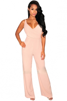 Womens Chic Plain V Neck Spaghetti Straps Palazzo Jumpsuit Pink