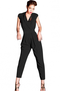 Womens Fashion Cross V Neck Short Sleeve Jumpsuit Navy Black
