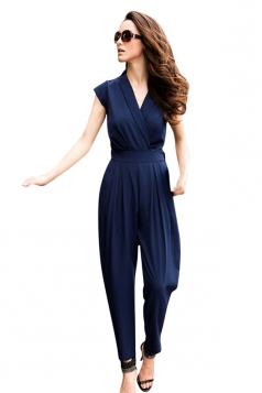 Womens Fashion Cross V Neck Short Sleeve Jumpsuit Navy Blue