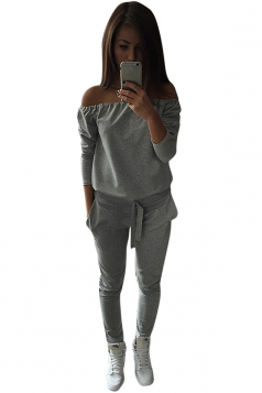 Womens Casual Plain Off the Shoulder Drawstring Waist Jumpsuit Gray