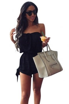 Womens Sexy Plain Bow Strapless Tube Romper Black