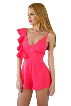 Womens Sexy Plain Ruffled Sleeve Backless Romper Rose Red