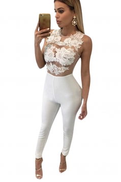 Womens Sexy Sheer Lace Patchwork Sleeveless Bodycon Jumpsuit White