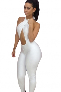 Womens Sexy Cross Halter Backless Bodycon Jumpsuit White