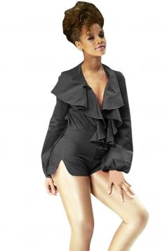 Womens Sexy Ruffled Neck Long Sleeve Side Slit Romper Black