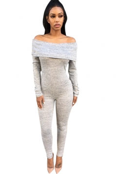 Womens Plain Boat Neck Long Sleeve Bodycon Jumpsuit Light Gray