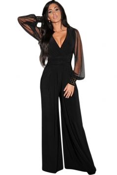 Womens Embellished Cuffs Long Mesh Sleeves V Neck Jumpsuit Black