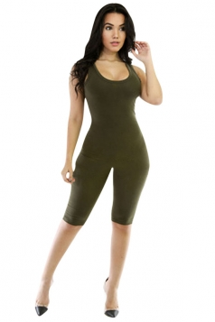 Womens Skinny Plain Sports Tank Romper Light Green