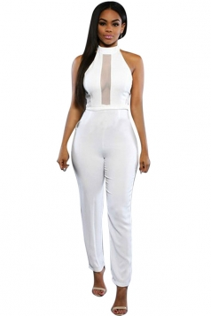 Womens Sexy Stand Collar Mesh Patchwork Sleeveless Jumpsuit White