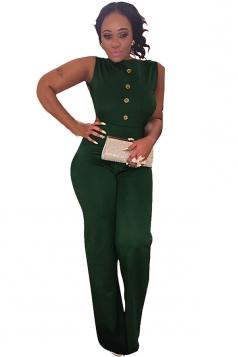 Womens Sexy Buttons Backless Sleeveless Jumpsuit Dark Green