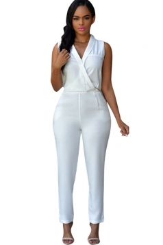 Womens Sexy Plain Turndown V Neck Sleeveless Jumpsuit White