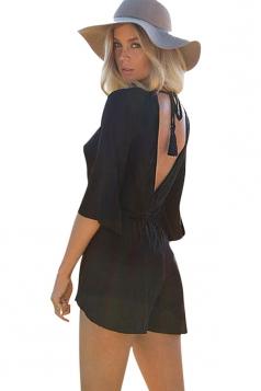 Womens V Neck Flare Sleeve Backless Plain Romper Black