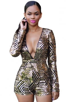 Womens Sexy Plunging Neckline Sequin Backless Long Sleeve Romper Black