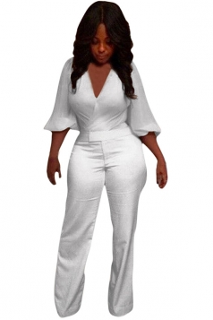Womens Sexy Deep V Neck Plain Palazzo Jumpsuit White