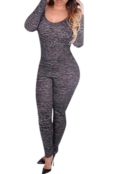 Womens Sexy Long Sleeve Backless Zipper Jumpsuit Gray