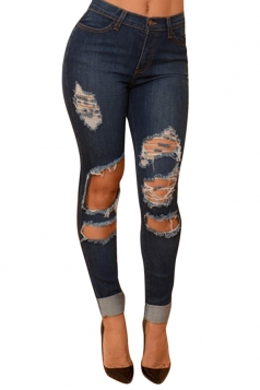 Womens Sexy High Waisted Bleach Wash Ripped Jeans Blue