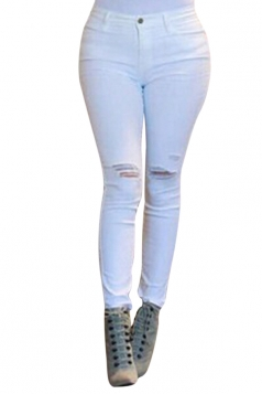 Womens Sexy High Waisted Ripped Jeans White