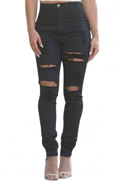 Womens Chic High Waisted Ripped Bleach Wash Jeans Black