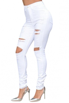 Womens Chic High Waisted Ripped Bleach Wash Jeans Blue
