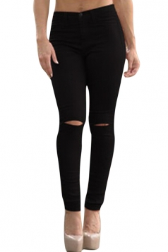 Womens Chic Ripped High Waisted Jeans Black