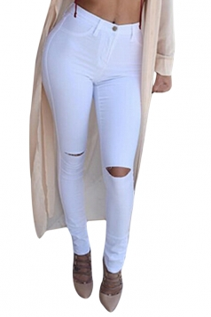 Womens Chic Ripped High Waisted Jeans White
