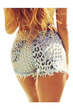 Womens Sexy Rivet Leopard Printed Mini Jeans Shorts Blue