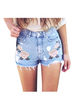 Womens Tassel Ripped Embroider High Waist Jeans Shorts Light Blue