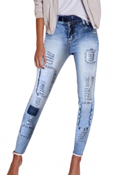 Womens Skinny Ripped Ankle Length Pencil Jeans Light Blue