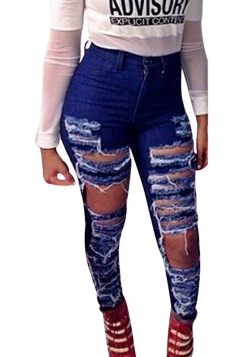 Womens Skinny Ripped High Waist Jeans Blue