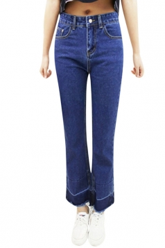 Womens Casual High Waist Ankle Length Jeans Blue
