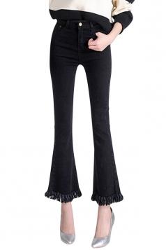 Womens Retro Slimming Tassel Bell Bottom Jeans Black